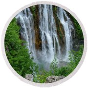 Plitvice Lakes Waterfall - A Balkan Wonder In Croatia Round Beach Towel