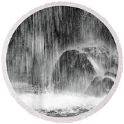 Plitvice Waterfall Black And White Closeup - Plitivice Lakes National Park, Croatia Round Beach Towel