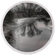 Plover River Black And White Winter Reflections Round Beach Towel
