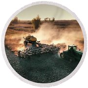 Plow The Fields And Scatter  Round Beach Towel
