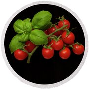 Round Beach Towel featuring the photograph Plum Cherry Tomatoes Basil by David French