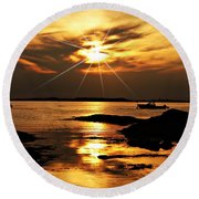 Plum Cove Beach Sunset E Round Beach Towel
