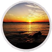 Plum Cove Beach Sunset G Round Beach Towel