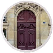 Plum Door - Paris, France Round Beach Towel
