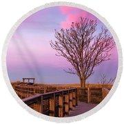 Plum Island Boardwalk With Tree Round Beach Towel