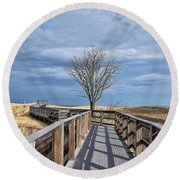 Plum Island Walkway Round Beach Towel by Tricia Marchlik
