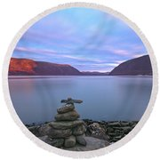 Plum  Point Rock Cairn At Sunset Round Beach Towel by Angelo Marcialis