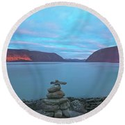 Plum Point Sunset Panorama Round Beach Towel by Angelo Marcialis