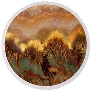 Plume Agate Shape And Form Round Beach Towel