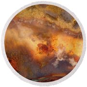 Plume Waves In Stone Round Beach Towel