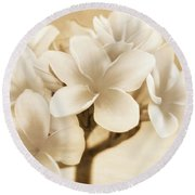 Plumerias In Cream And Brown Round Beach Towel