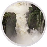 Round Beach Towel featuring the photograph Plunge by Alex Lapidus