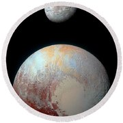 Pluto And Charon Round Beach Towel