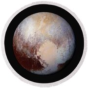 Pluto Dazzles In False Color - Square Crop Round Beach Towel