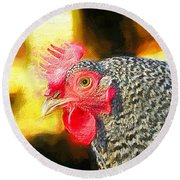 Plymouth Barred Rock Portrait Round Beach Towel