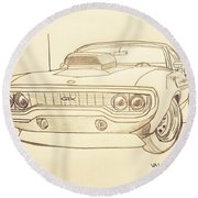Plymouth Gtx American Muscle Car - Antique  Round Beach Towel