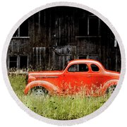 Plymouth Hot Rod Round Beach Towel by Joel Witmeyer