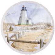 Plymouth Light In Winter Round Beach Towel