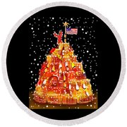 Plymouth Lobster Trap Tree Round Beach Towel