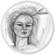 Pocahontas Round Beach Towel by Mayhem Mediums