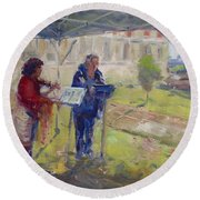Poetry And Violin Round Beach Towel
