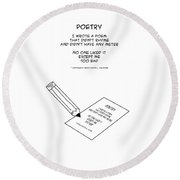 Round Beach Towel featuring the drawing Poetry by John Haldane