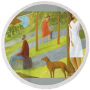 Round Beach Towel featuring the painting Poets Hill by Glenn Quist