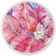 Poinsettia Glory Round Beach Towel