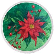 Round Beach Towel featuring the painting Poinsettia by Lucia Grilletto