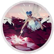 Round Beach Towel featuring the digital art Poinsettia Snow Fairy by Methune Hively