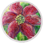Round Beach Towel featuring the painting Poinsettia by TM Gand