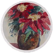 Round Beach Towel featuring the painting Poinsettias In A Brown Vase by Avonelle Kelsey