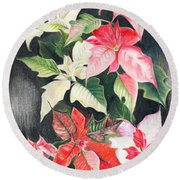Poinsettias Round Beach Towel