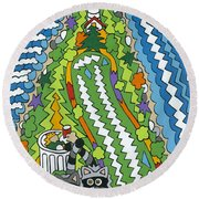 Point Arena Lighthouse Round Beach Towel
