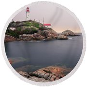 Point Atkinson Lighthouse Round Beach Towel