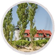 Round Beach Towel featuring the photograph Point Betsie Lighthouse by Sue Smith