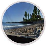 Point Betsie Rock Art Round Beach Towel