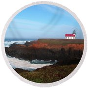 Point Cabrillo Light Station Round Beach Towel