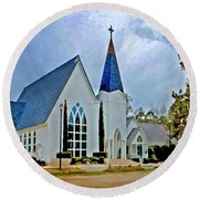 Point Clear Alabama St. Francis Church Round Beach Towel