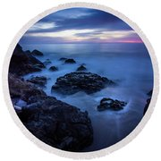 Point Dume Rock Formations Round Beach Towel