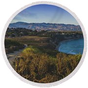 Point Dume Sunset Panorama Round Beach Towel