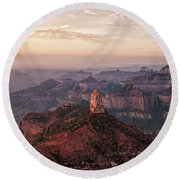 Point Imperial Sunrise Panorama I Round Beach Towel