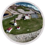Round Beach Towel featuring the photograph Point Judith Easter Cross by Michael Hughes