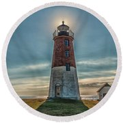 Point Judith Light Narragansett Rhode Island Round Beach Towel by Brian MacLean