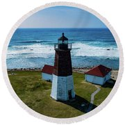 Point Judith Lighthouse Round Beach Towel
