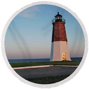 Round Beach Towel featuring the photograph Point Judith Lighthouse Rhode Island by Nancy De Flon