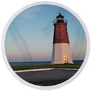 Point Judith Lighthouse Rhode Island Round Beach Towel