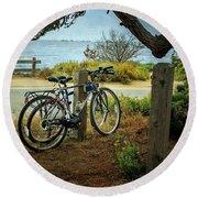 Point Lobos Bicycles Round Beach Towel