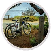 Point Lobos Bicycles Round Beach Towel by Craig J Satterlee