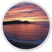 Point Lobos Red Sunset Round Beach Towel